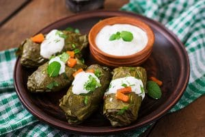 Dolma stuffed with rice and meat greek