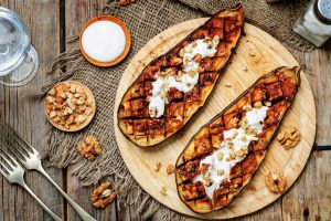 Roasted Spicy Egg Plants with Greek Yoghurt